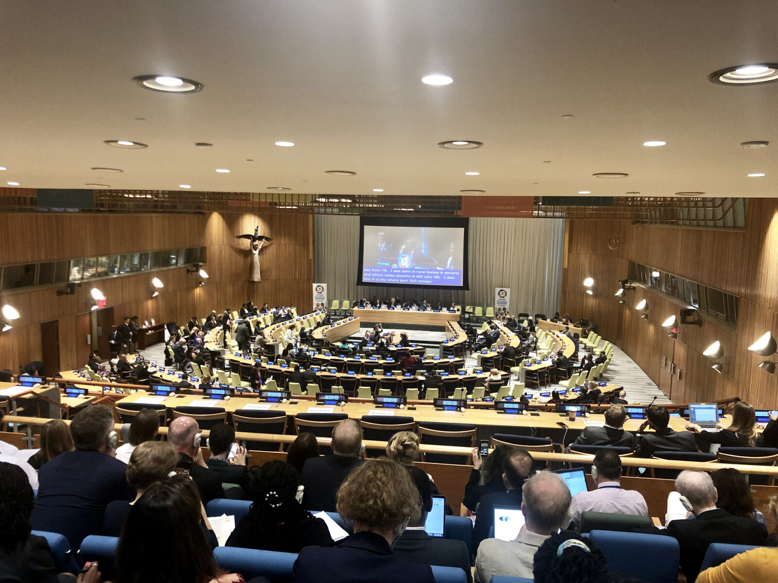 Möte i stor sal i FN-byggnaden
